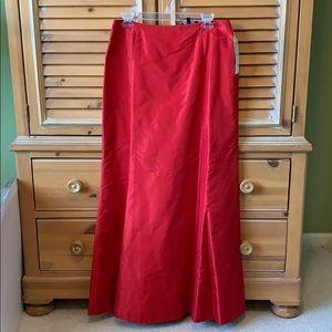 Carmen Marc Valvo Red Silk Maxie Skirt Size 10